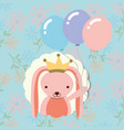 beautiful pink rabbit with crown balloons floral vector image