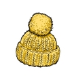 Bright yellow winter knitted hat with pompon vector image vector image