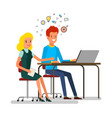 business concept cartoon man and woman vector image