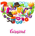 carnival party background with celebration icons vector image