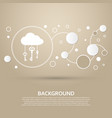 cloud computer storage with lock icon on a brown vector image vector image
