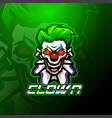 clown esport mascot logo design vector image vector image