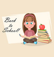 cute girl sitting and reading book vector image