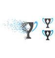 destructed dot halftone ethereum award cup icon vector image vector image