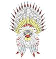 entangle lion with war bonnet american native vector image
