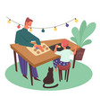 father and son making cookies together in the vector image vector image