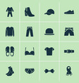 garment icons set with trousers gumshoes scarf vector image