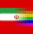 gay rainbow wall iranian flag vector image