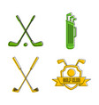golf stick icon set color outline style vector image