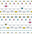 green eyes pattern with lips crown lightning and vector image vector image