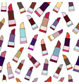 Hand drawn colorful lipsticks seamless pattern vector image vector image