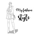 hand drawn woman in coat fashion model vector image vector image