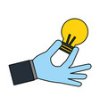 hand holding light bulb vector image vector image