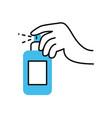 hand with antibacterial spray bottle half color vector image vector image