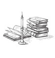 handmade sketch death concept old books near vector image vector image