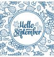 hello september autumn leaf ornamental frame vector image vector image