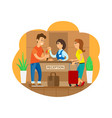 hotel reception receptionists checking in tourists vector image