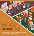 isometric barbershop colorful concept vector image vector image
