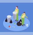 isometric garbage collect composition vector image vector image