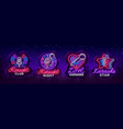 karaoke set of neon signs collection is a light vector image
