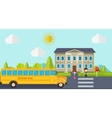 Kids go back to school Bus children and school vector image vector image