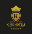 king hotel logo and emblem logo vector image