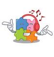 listening music puzzle mascot cartoon style vector image