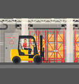 loader or truck with forklift at warehouse vector image vector image
