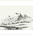 mountains landscape sketch river flow vector image vector image