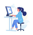 person working from home cartoon character with vector image
