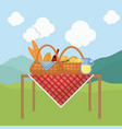 picnic basket with snack design vector image vector image