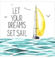 Sailboat in the sea and seagulls around vector image vector image