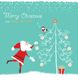 santa in red hat and bullfinch singing christmas vector image vector image