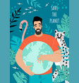 save planet postcard or banner with a man vector image