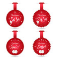 Set of four round festive Christmas coupon tags vector image vector image