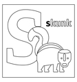 Skunk letter S coloring page vector image vector image