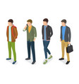 stylish men models in fashionable apparels jackets vector image vector image
