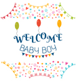 Welcome baby boy Baby shower greeting card Cute vector image