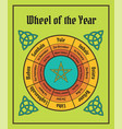 wheel of the year poster wiccan calendar vector image vector image