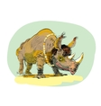 Wild Rhino men evolution vector image vector image