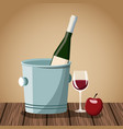 wine bottle and cup on wooden table vector image vector image