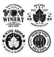 wine shop set monochrome emblems vector image vector image