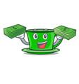 with money bag green tea mascot cartoon vector image