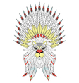zentangle Lion with War Bonnet American native vector image vector image