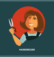 hairdresser woman with scissors flat poster vector image