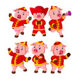 a little pink pigs uses a chinese new year costume vector image