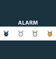 alarm icon set four elements in diferent styles vector image vector image