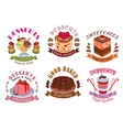 Bakery desserts pastry cakes emblem labels set vector image vector image