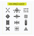 Black silhouette Aztec sing and symbols icons set vector image