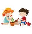 boy and girl planting tree vector image vector image